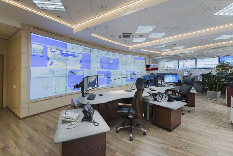 Диспетчерский пункт Транснефть, видеостена и рабочие места диспетчеров